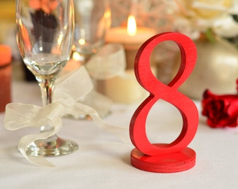 Wedding reception RED table numbers,