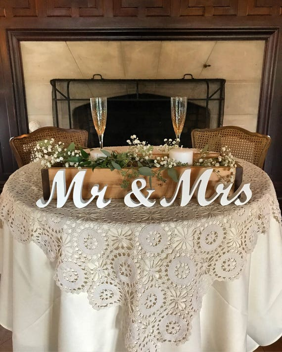 Rustic Wedding Decorations For Weddings: Mr And Mrs Wedding Signs Table Decoration. Rustic Wedding
