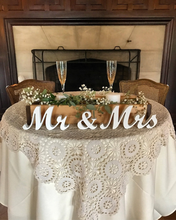 Wedding Reception Ideas For Tables: Mr And Mrs Wedding Signs Table Decoration. Rustic Wedding