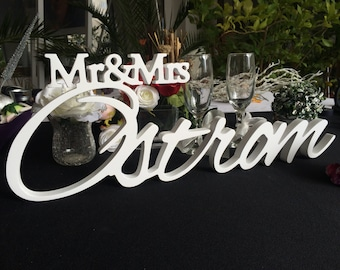LAST NAME custom sign for Mr & Mrs - gift for wedding, personalized sign, bridal shower gift, wedding signs