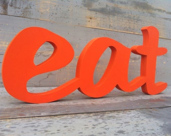 sign eat, kitchen sign, eat sign wood,  wooden sign  letter script wood sign shabby chic wall decor wood letters cottage style gift