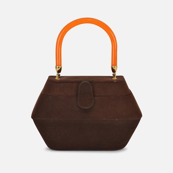Foxy Boxy! Vintage Chocolate Suede Box Style Handb