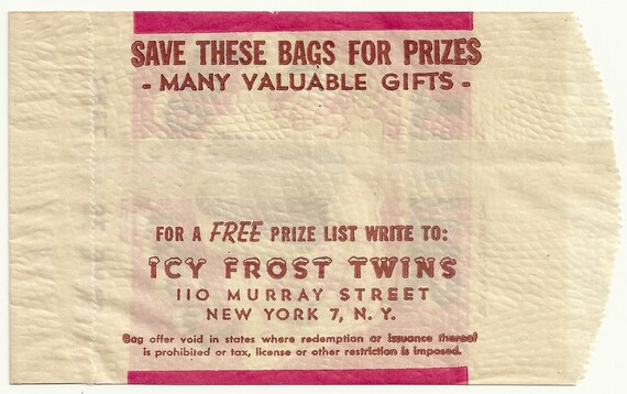 Frost Twins Unused Vintage 1947 Bag Fudgi Wrapper New York City New York