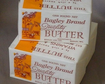 Bagley Brand Butter 3 Original Unused Vintage 1 LB. Wrappers / Labels From Bagley, Wisconsin