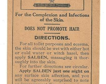 1910 -15 Free Sample Envelope Salben For Skin Dr. J. B. Lynas & Son Logansport, Indiana