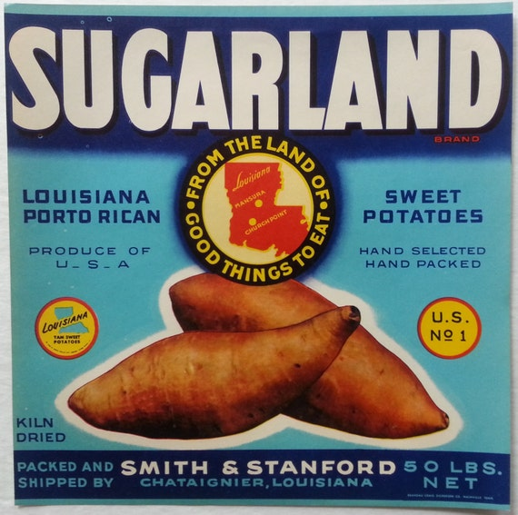 LOT OF 25 LABELS Sweet Lue vintage crate label louisiana sweet potatoes