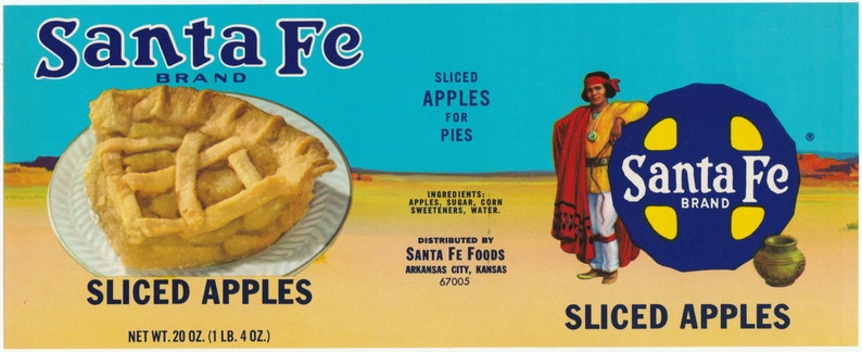 Kansas Santa Fe Brand Sliced Apples Vintage Can Label Santa Fe Foods Arkansas City