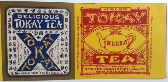 ORIGINAL CAN LABEL VINTAGE 1920S TOKAY TEA X NEW ORLEANS LA JAVA CHINA INDIA