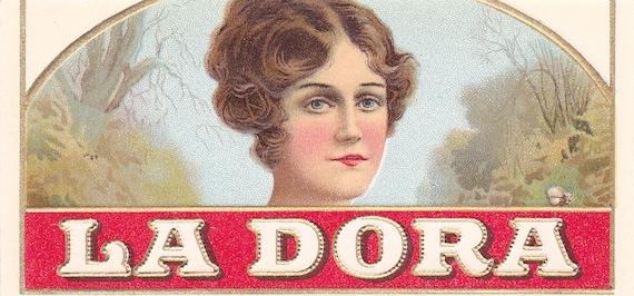 Vintage  Emilia Garcia  Embossed Stone Lithographed Outer Cigar Box End Label