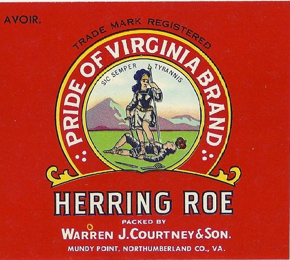 15 oz. Courtney Mundy Point Va Pride of Virginia Herring Can Label Warren J