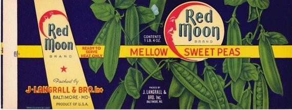 Red Moon Mellow Sweet Peas Original Vintage Can Label J Langrall Baltimore Md.