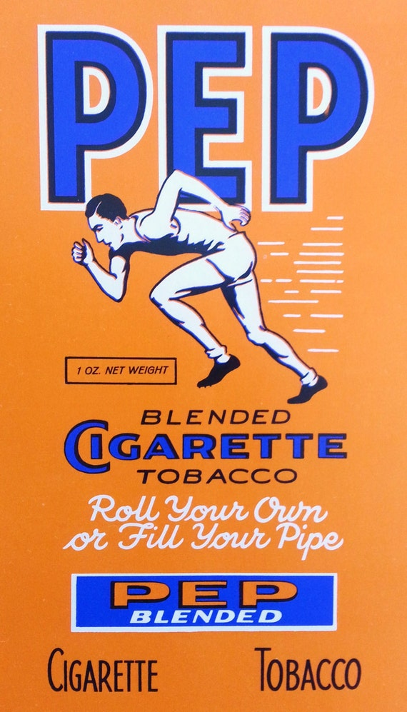 Vintage Pep Blended Cigarette Tobacco Package Label Detroit Michigan With Runner