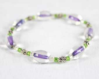 Vintage Simple Purple Lilac Glass Beaded Bracelet