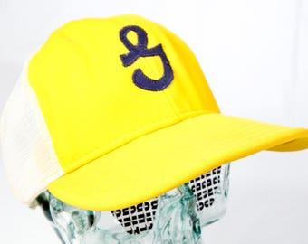 1114eb24a1d VTG ENCRUSTED HAT ϟ Monogram G Uppercase Retro Yellow + Dk Blue Aqua Hand  Sewn Classic Snapback   Baseball   Flat Bill   Trucker Retro Cap