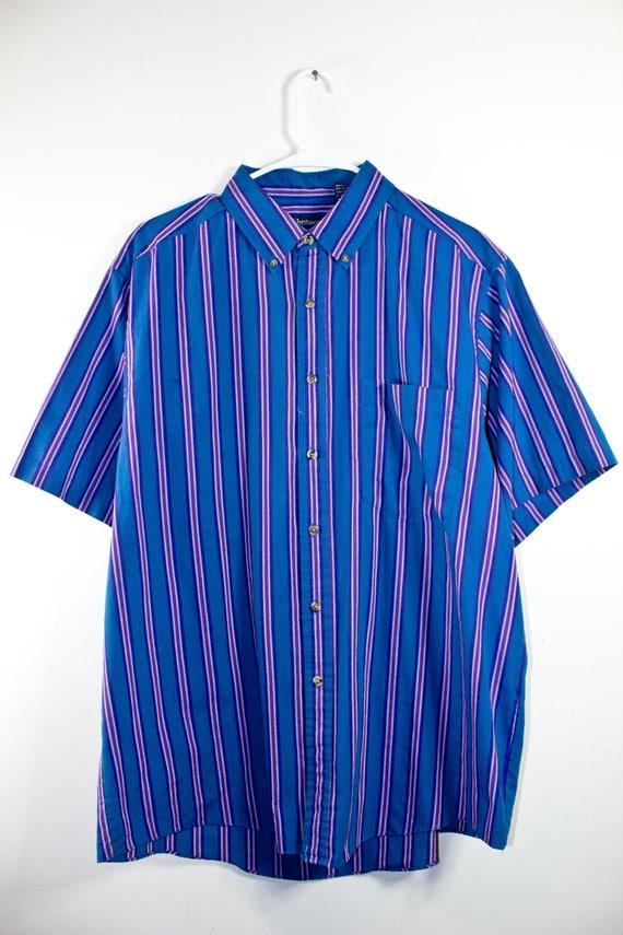 80 ' s RETRO bouton jusqu'à ϟ classique rayé Top pour hommes / chemise