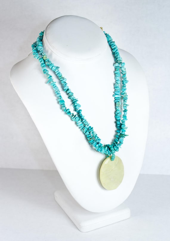 VTG STONE NECKLACE ϟ Faceted / Turquoise Stone Mul