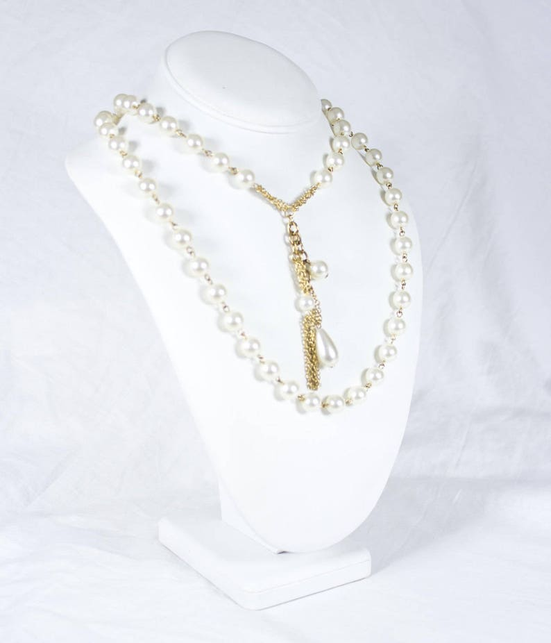 Vintage 20/'s Statement Gold /& Pearl Tassel Beaded Necklace