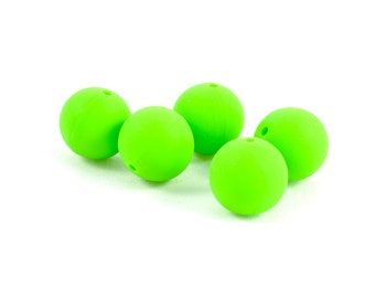 1.5cm ROUND SILICONE BEADS (Set of 5) - Apple Green Round Silicone Beads (1.5cm)