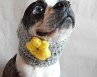 Dog Cowl scarf, hand crocheted neck warmer, grey with yellow flower, Boston Terrier