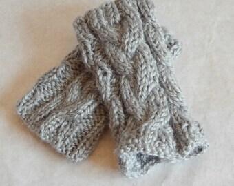 Grey Hand knit Boot Cuffs womens leg warmers boot topper