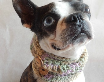Dog cowl scarf, hand crocheted neck warmer with brown vintage  buttons, Boston Terrier