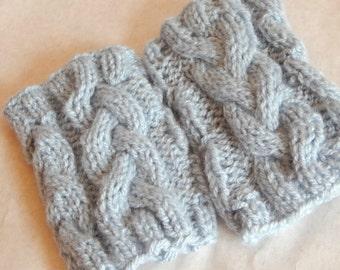 Blue Hand knit Boot Cuffs womens leg warmers boot topper