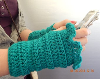 Fingerless gloves,  crocheted Arm warmers, teal crocheted texting gloves