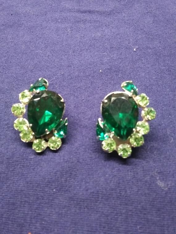 Original  Uranium stone vibrant green clip- on ear