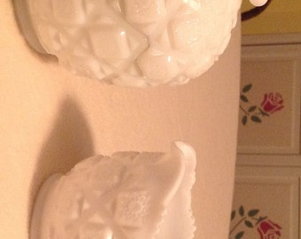 Westmoreland Milk Glass Old Quilt Pattern Sugar and Creamer Set