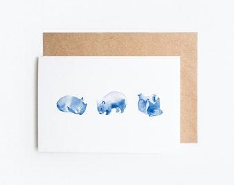 Greeting Card, Blank: Wombat Watercolour