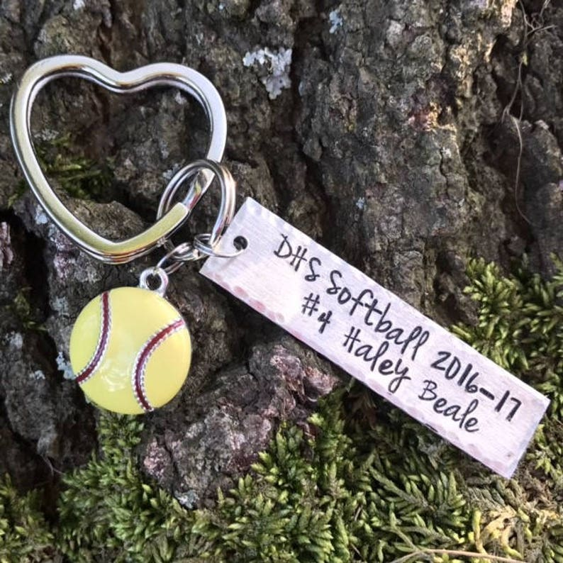 40568ff62 Softball Keychain Handstamped personalized with player   Etsy