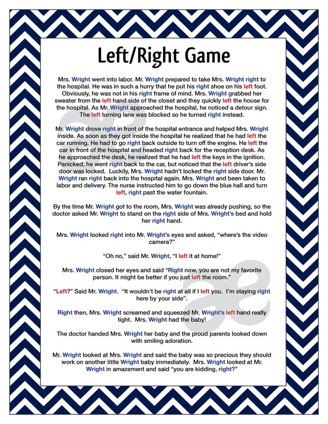 Printable Shower Game Left Right Game Instant Download Blue Etsy