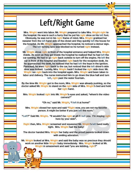 Printable Shower Game Left Right Game Instant Download Etsy