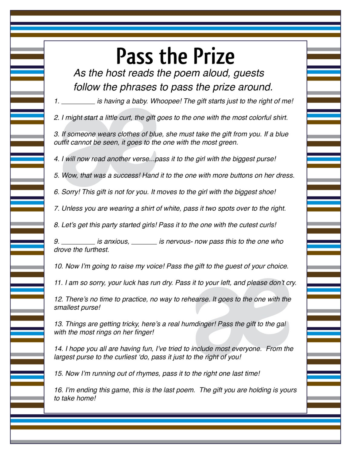 graphic regarding Baby Shower Pass the Prize Rhyme Printable identified as Printable Child Boy Shower Recreation: P the Prize - Fast Down load - Customizable Blue Stripe
