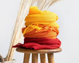 Linen scarf. Knit linen scarf. Orange scarf. Yolk yellow scarf. Red scarf