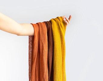 Linen scarf. Knit linen scarf. Rust orange scarf. Chestnut brown scarf. Mustard scarf