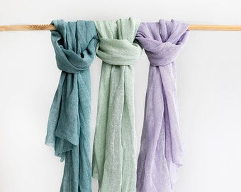 Linen scarf. Pastel linen scarf. Lilac scarf. River blue green scarf. Mint scarf