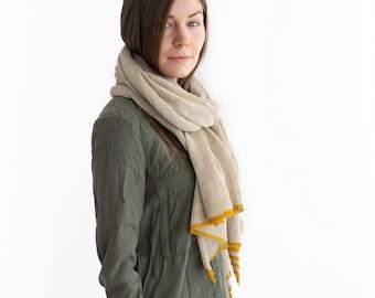 Linen shawl. Linen scarf. Linen pastel shawl. Linen scarf mustard. Blanket scarf. Knit shawl