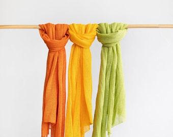 Linen scarf. Knit linen scarf. Orange scarf. Yolk yellow scarf. Apple green scarf