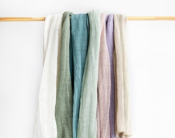 Linen scarf. Pastel linen scarves. Lilac scarf. River blue green scarf. Mint scarf. Summer scarf