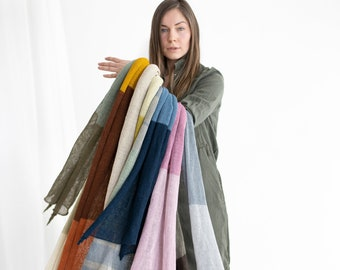 Linen shawl. Linen scarf. Linen mustard shawl. Linen scarf color blocks. Mustard scarf. Brown scarf