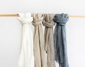 Linen scarf. Undyed linen scarf. White linen scarf.