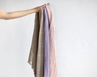 Linen scarf. Knit linen scarf. Pastel linen scarf. Linen wrap. Blanket scarf. Long scarf. Pink scarf. Lilac scarf. Grey scarf. Linen