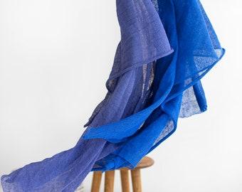 Linen scarf. Knit linen scarf. Vibrant blue scarf. Violet blue scarf