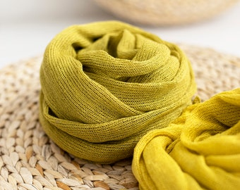 Linen scarf. Summer scarf. Yellow scarf. Chartreuse scarf