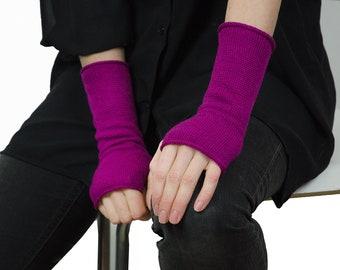 Cashmere wrist warmers. Fingerless mittens. Knit wrist warmers.