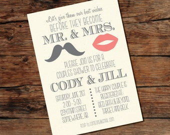 PRINTABLE Mustache/Lips Couples Wedding Shower Invitation - Digital File - Print-at-Home