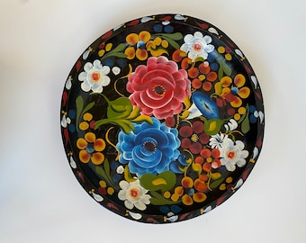 Bavarian Wood bowl Scandinavian Wood Bowl Tole Painted Wooden Bowl Wood Hand Painted Bowl Tole Painting 1980/'s Primitives By Kathy