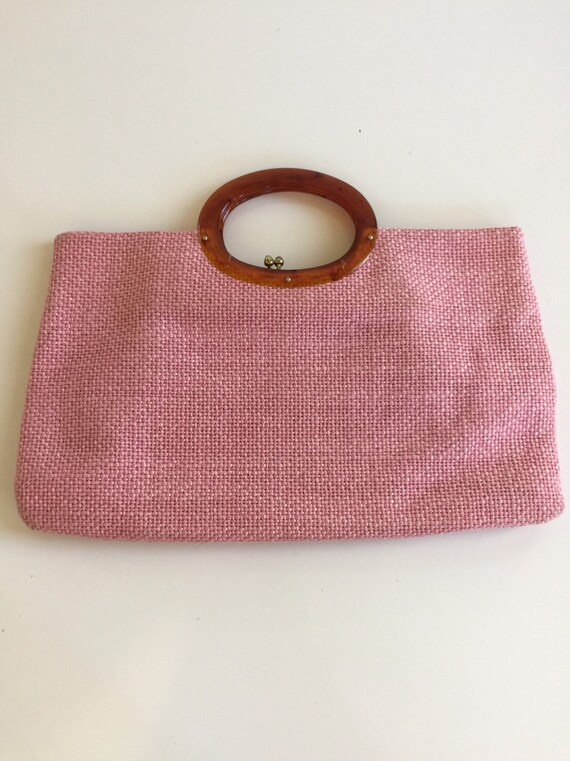 Vintage Pink Tweed Handbag JR Florida USA 1960s
