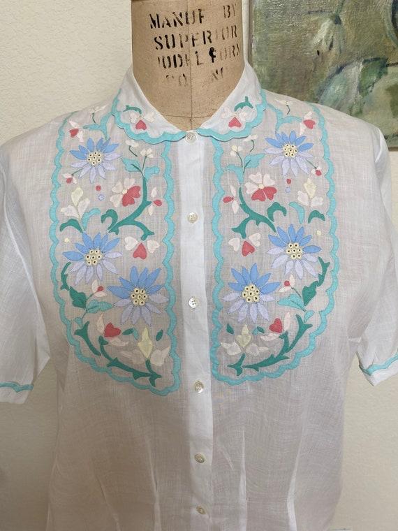 Vintage 1930s 40s Blouse Appliqué Embroidered Fine
